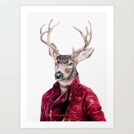 Deer In Leather Art Print