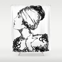 swanson Shower Curtains featuring Gloria Swanson by Paige Knapp