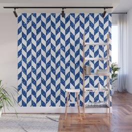 Herringbone Blue Glitter 01 Wall Mural