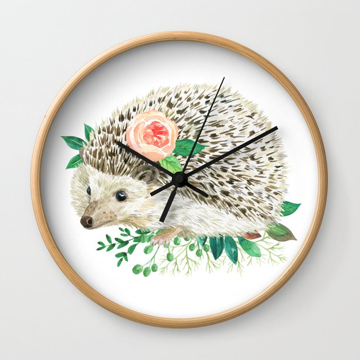 hedgehog with rose Wall Clock