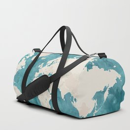 Teal watercolor and light brown world map Duffle Bag