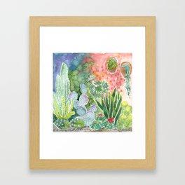 Cactus at Night Framed Art Print
