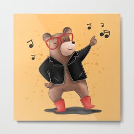 Dancing Bear Illustration Metal Print