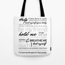 Breathe Me Lyrics artwork Tote Bag