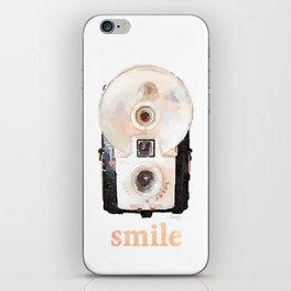 Retro Watercolor Camera SMILE! iPhone Skin