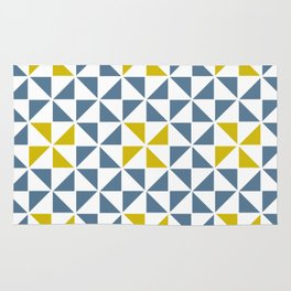 Pinwheel Quilt Blue and Yellow Rug