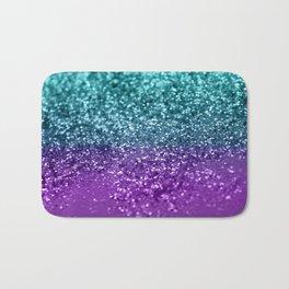 Purple Teal MERMAID Girls Glitter #1 #shiny #decor #art #society6 Bath Mat