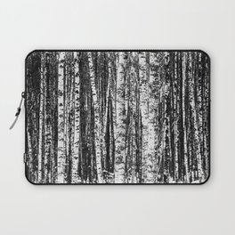 Beech Trees, White and Charcoal Gray / Grey Laptop Sleeve