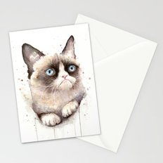 Grumpy Watercolor Cat Animals Meme Geek Art Stationery Cards