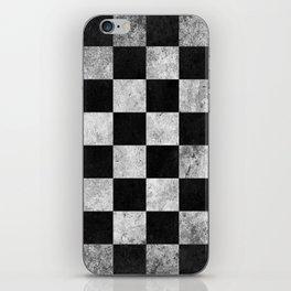 Black and White Checkered Grunge Pattern iPhone Skin