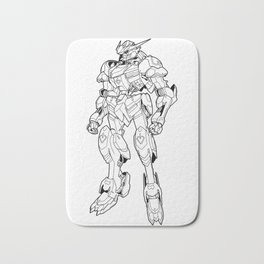 Gundam Barbatos Outline Black Bath Mat
