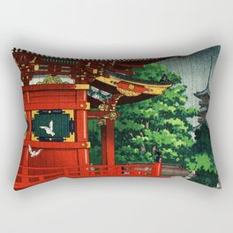 In the rain-Asakusa Sensouji temple Rectangular Pillow