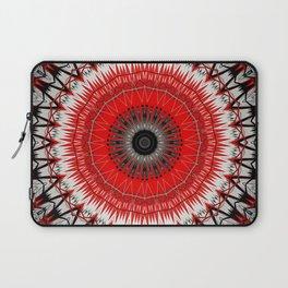 Bright Red White Mandala Design Laptop Sleeve