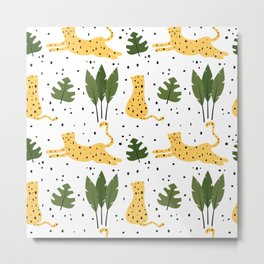 cute trendy abstract pattern background with leopards and tropical leaves Metal Print
