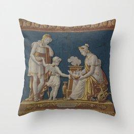 La Constance Vintage Roman Wallpaper Fire Board Throw Pillow