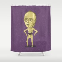 c3po Shower Curtains featuring C3PO by Rod Perich