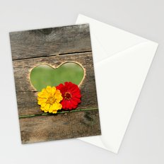 Wooden Heart with Flowers Stationery Cards