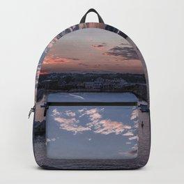 Sunset over Rockport Harbor Backpack