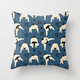 Sumo squat on blue Throw Pillow