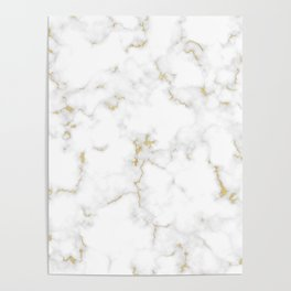 Fine Gold Marble Natural Stone Gold Metallic Veining White Quartz Poster
