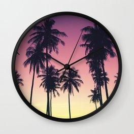 Palmtrees Sunset Wall Clock