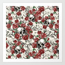 Skulls and Roses or Les Fleurs du Mal Art Print
