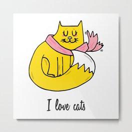 I love cats Metal Print
