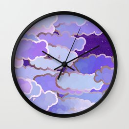 Japanese Clouds, Twilight, Violet and Deep Purple Wall Clock