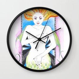 Mermaid Red Wall Clock