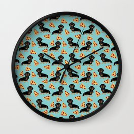Dachshund pizza pattern pet portrait dog art unique gift for dog person doxie owner must haves Wall Clock
