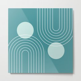 Mid Century Modern Geometric 72 in Teal Green (Rainbow and Sun Abstraction) Metal Print