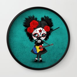 Day of the Dead Girl Playing Romanian Flag Guitar Wall Clock