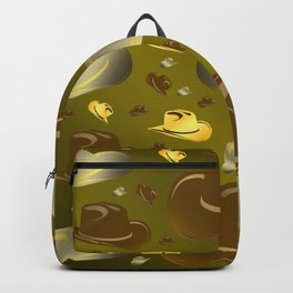brown, golden pattern of little cowboy hats Backpack