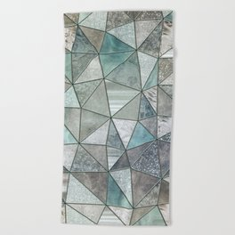 Teal And Grey Triangles Stained Glass Style Beach Towel