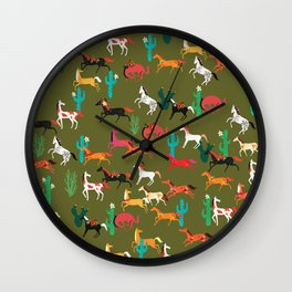 wild horses and flowers pattern Wall Clock