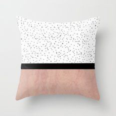 Pink marble and dots Throw Pillow
