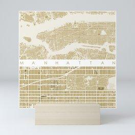 Manhattan NYC map gold Mini Art Print