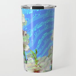 notes of works of bach on the background of flowers Travel Mug