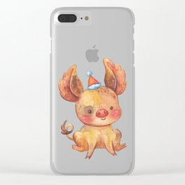 Festive Pig in a New Year's Cap Clear iPhone Case