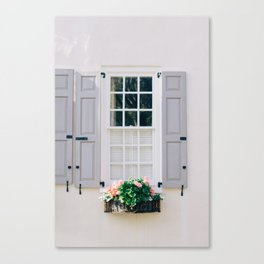 Charleston Grey Shutters and Window Box Canvas Print