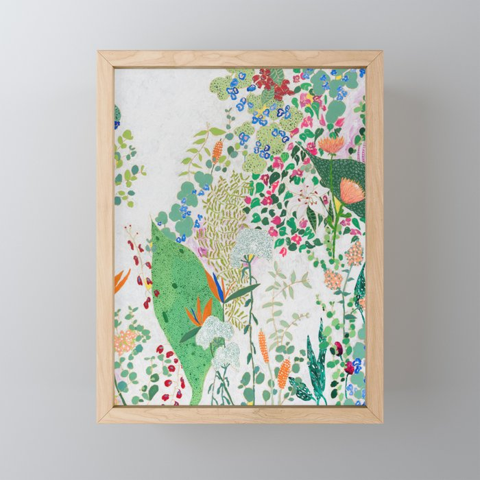 Painterly Floral Jungle on Pink and White Framed Mini Art Print