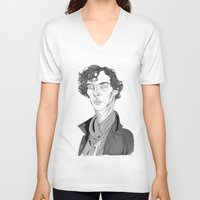 benedict V-neck T-shirts featuring Benedict Cumberbatch - Sherlock by Andy Christofi