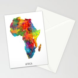 Africa Watercolor Map Stationery Cards