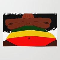 rasta Area & Throw Rugs featuring Rasta Beauty by Courtney Ladybug Johnson