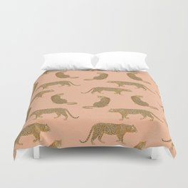 sunset leopards Duvet Cover