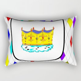 A Stained Glass Window with Shield and Crown Rectangular Pillow