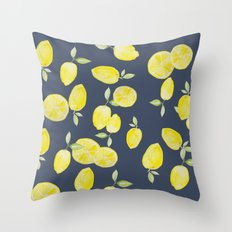 Lemons in blue Throw Pillow