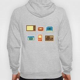 80s Retro Household Electronics - Video Games Television Radio Cassette Tape Walkman Pattern Hoody