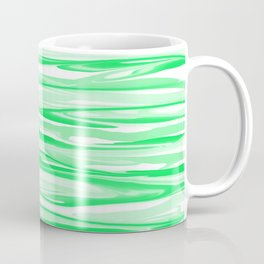 Apple Green and White Stripes Abstract Coffee Mug