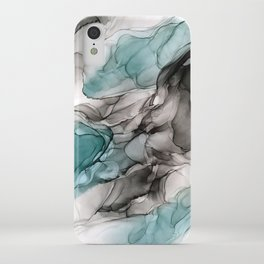 Smoky Grays and Green Abstract Flow iPhone Case